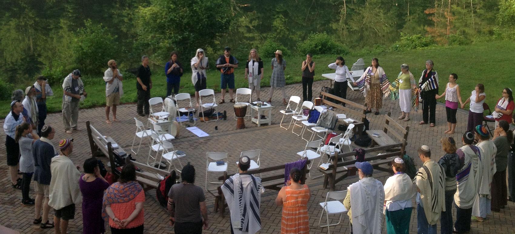 Co-leading prayer at Isabella Freedman Jewish Retreat Center